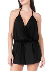 Kenneth Cole Reaction Draped Front Romper Black