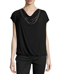 Laundry By Shelli Segal Short Sleeve Jersey Knit Necklace Tee Black