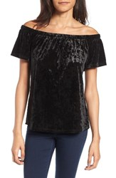 Socialite Women's Crushed Velvet Off The Shoulder Top