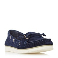 Dune Galley Lace Up Boat Shoes Navy