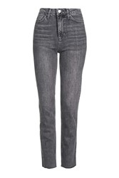 Topshop Moto Raw Hem Straight Leg Jean Grey