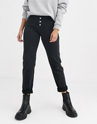 Dr. Denim Dr Nora High Rise Mom Jean With Exposed Button Detail Black