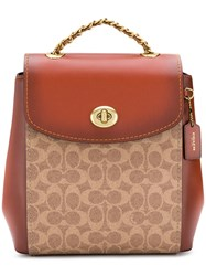 Coach Signature Logo Backpack Brown