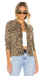 Pam And Gela Leopard Army Shacket In Brown.