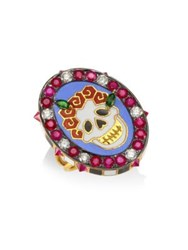 Holly Dyment Diamonds And 18K Yellow Gold Gemstone Skull Ring Multi