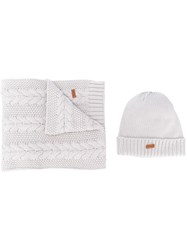 Barbour Knitted Hat And Scarf Set Grey