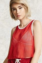 Forever 21 Semi Cropped Sheer Netted Top Red White