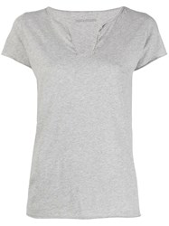 Zadig And Voltaire Rear Slogan T Shirt Grey