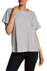 Pleione Stripe Knit Tee White