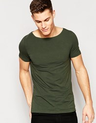 Asos Muscle T Shirt With Boat Neck In Green Forest Night