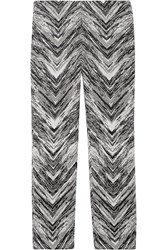 Missoni Cropped Wool Blend Jacquard Flared Pants Black