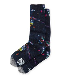 Galaxy Printed Knit Socks Navy Neiman Marcus