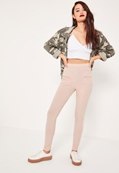 Missguided Pink Stretch Ribbed Pocket Detail Leggings Pink
