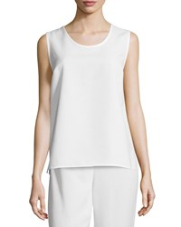 Caroline Rose Shantung Longer Cut Tank White Women's