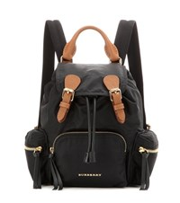 Burberry The Small Leather Trimmed Backpack Black