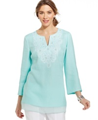 Jm Collection Embellished Sheer Hem Tunic Clear Mint