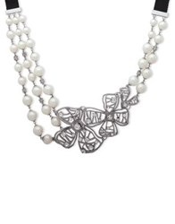 Jenny Packham 8 12Mm Faux Pearl And Crystal Ribbon Pendant Necklace Silver