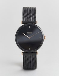 Cluse Triomphe Cl61004 Mesh Strap Watch In Black