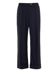 Preen Pleat Front Cropped Wool Trousers