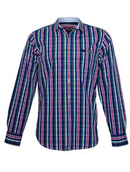Raging Bull Madras Check Long Sleeve Shirt Blue