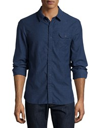 Jachs Fitted Button Down Flannel Shirt Blue