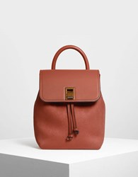 Charles And Keith Classic Push Lock Backpack Cognac