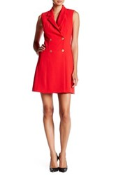 Abs By Allen Schwartz Gold Button Tuxedo Dress Red