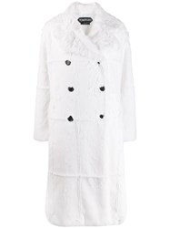 Tom Ford Faux Fur Double Breasted Coat White