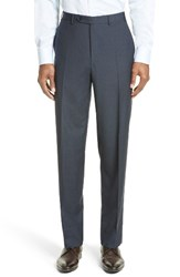 Canali Men's Big And Tall Flat Front Check Wool Trousers Blue