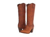 Frye Ilana Pull On Cognac Washed Oiled Vintage Cowboy Boots Brown