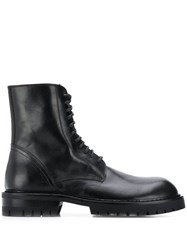 Ann Demeulemeester Lace Up Army Boots Black