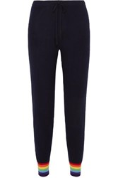 Madeleine Thompson Bill Striped Cashmere Track Pants Navy
