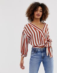 Pepe Jeans Audrey Stripe Tie Waist Shirt Orange