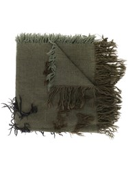 Y's Fray Detail Scarf Green