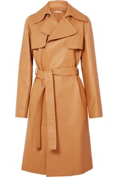 Michael Kors Collection Belted Leather Trench Coat Tan Gbp