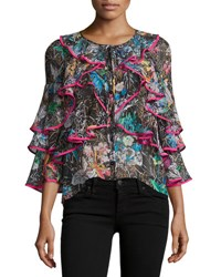 Peter Pilotto Tiered Frill Sleeve Botanical Print Blouse Black