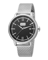 Just Cavalli 42Mm Men's Relaxed Patch Watch W Bracelet Black