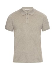 Moncler Short Sleeved Cotton Pique Polo Shirt Grey