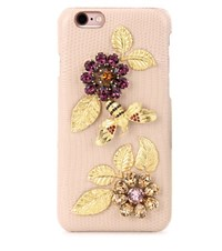 Dolce And Gabbana Embellished Leather Iphone 6 Case Pink