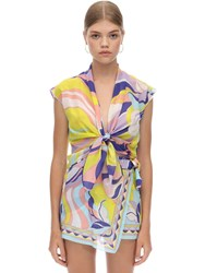 Emilio Pucci Print Gauze Knot Cotton And Silk Crop Top Purple