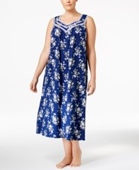 Charter Club Plus Size Lace Trimmed Printed Nightgown Only At Macy's Posies