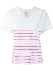 Zoe Karssen Striped V Neck T Shirt White