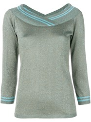 Charlott Metallic V Neck Pullover Green