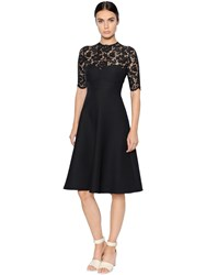 Valentino Crepe Couture Heavy Lace Flared Dress