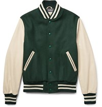 Golden Bear Virgin Wool Blend And Leather Bomber Jacket Forest Green