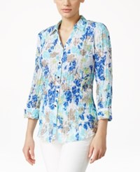 Jm Collection Printed Button Front Shirt Only At Macy's Blue Floral