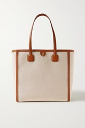 Mark Cross Antibes Textured Leather Trimmed Canvas Tote Beige