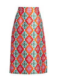 Andrew Gn Geometric Print Sateen Midi Skirt Orange Multi