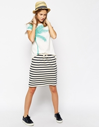 People Tree Organic Cotton Drawstring Skirt In Stripe Navy