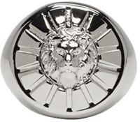 Versus Silver Round Lion Head Ring